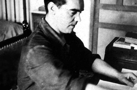 Eduardo Blanco Amor. Federico García Lorca en su escritorio, 1935. Archivo fotográfico de Eduardo Blanco Amor. Biblioteca de la Diputación de Ourense